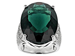 Teal Fluorite Sterling Silver Ring 30.04ctw