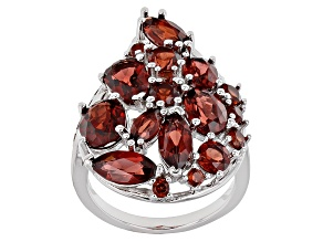 Red Garnet Sterling Silver Ring 7.62ctw