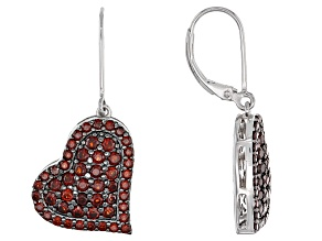 Red Garnet Rhodium Over Sterling Silver Heart Earrings 2.72ctw