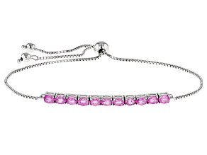 Pink Mahaleo Sapphire Sterling Silver Bolo Bracelet 2.15ctw