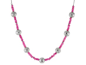 Pink Onyx Sterling Silver Bolo Necklace