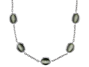 Green Cats Eye Quartz Sterling Silver Station Necklace