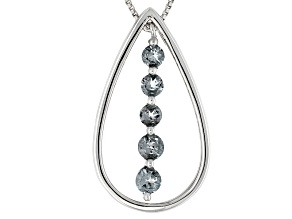 Gray Platinum color Spinel Sterling Silver 5-Stone Pendant With Chain .98ctw