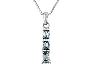 Gray Titanium Color Spinel Sterling Silver 3-Stone Pendant With Chain .41ctw