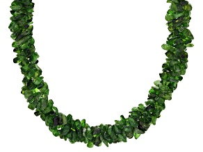 Green Chrome Diopside Chip Silver Torsade Necklace