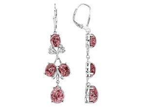 Red Thulite Sterling Silver Earrings