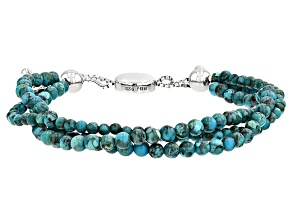 Blue Turquoise Sterling Silver Bolo Bracelet