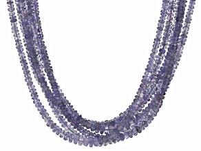 Blue Tanzanite Sterling Silver 6-Strand Torsade Necklace 260.00ctw