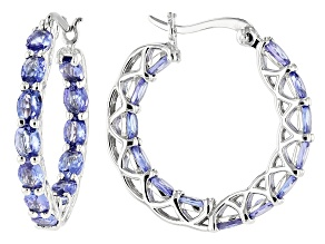 Blue Tanzanite Rhodium Over Sterling Silver Hoop Earrings 3.60ctw