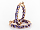 Blue tanzanite 18k rose gold over silver earrings 3.64ctw