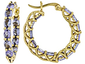 Blue tanzanite 18K Yellow Gold Over Sterling Silver Inside/Outside  Hoop Earrings 3.64ctw