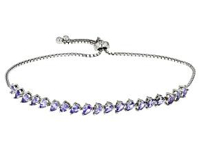 Blue Tanzanite Sterling Silver Bolo Bracelet 2.52ctw