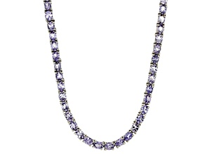 Blue Tanzanite Sterling Silver Tennis Necklace 14.55ctw