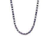 Blue Tanzanite Rhodium Over Sterling Silver Tennis Necklace 14.55ctw