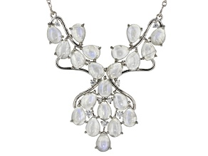 White Rainbow Moonstone Sterling Silver Necklace .57ctw
