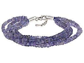 Blue Tanzanite Sterling Silver Bracelet 120.00ctw