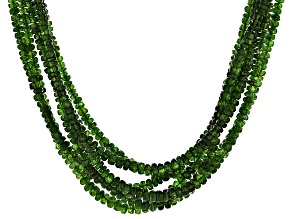 Green Chrome Diopside Bead Sterling Silver Necklace 280.00ctw