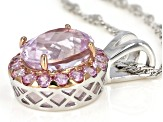 Pink Kunzite Rhodium Over Sterling Silver Pendant With Chain 3.28ctw