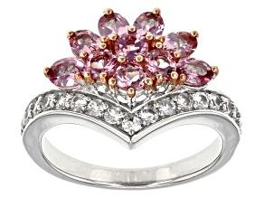 Pink Garnet Sterling Silver Ring 1.67ctw
