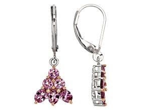 Pink Garnet Sterling Silver Earrings 1.35ctw
