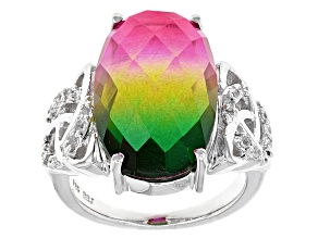 Multicolor Watermelon Quartz Doublet Sterling Silver Ring .23ctw