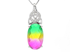 Multicolor Watermelon Quartz Sterling Silver Pendant With Chain 12.86ctw