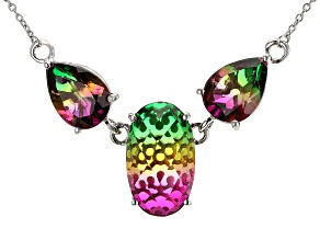 Multicolor Watermelon Quartz Doublets Silver 3-Stone Necklace