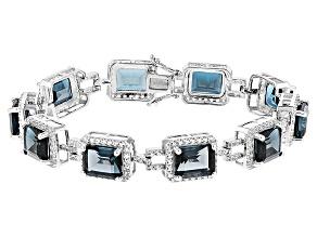 London Blue Topaz Sterling Silver Bracelet 36.56ctw