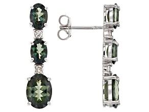 Green Labradorite Sterling Silver Earrings 3.47ctw