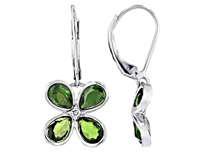 Green Chrome Diopsider Sterling Silver Earrings 3.05ctw