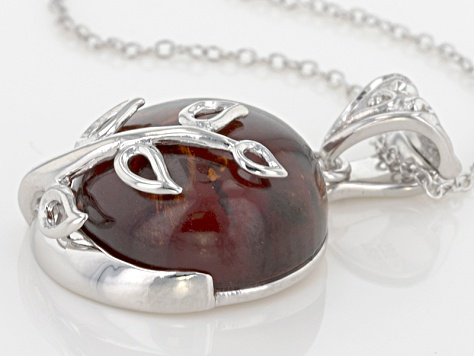 Red Amber Sterling Silver Enhancer With Chain