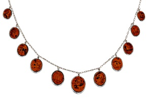 Red Amber Sterling Silver Station Necklace