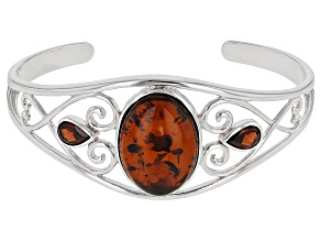 Red Amber Sterling Silver Bracelet 2.85ctw