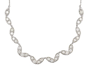 White Lab Created Strontium Titanate Sterling Silver Necklace 12.75ctw