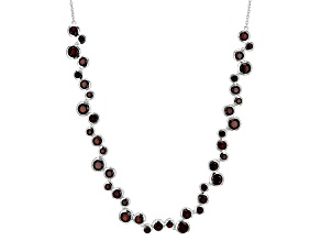 Red Garnet Sterling Silver Necklace 10.96ctw