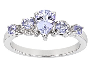 Blue Tanzanite Sterling Silver Ring .94ctw