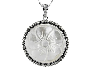 White Freshwater Mother-Of-Pearl Sterling Silver Enhancer With Chain