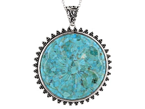Blue Turquoise Flower Sterling Silver Enhancer With Chain