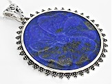 Blue Carved Lapis Lazuli Sterling Silver Enhancer With Chain
