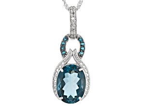 London Blue Topaz Sterling Silver Pendant With Chain 10.89ctw