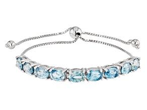 Blue Zircon Rhodium Over Sterling Silver Bolo Bracelet 10.00ctw