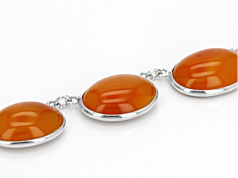 Orange Carnelian Sterling Silver Necklace