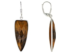 Brown Tigers Eye Sterling Silver Earrings