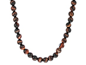 Red Tigers Eye Sterling Silver Bead Necklace