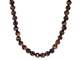 Red Tigers Eye Rhodium Over Sterling Silver Bead Necklace