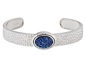 Blue Drusy Quartz Sterling Silver Cuff Bracelet