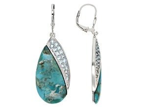 Blue Turquoise Sterling Silver Earrings .98ctw