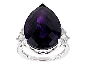 Purple African Amethyst Sterling Silver Ring 16.66ctw