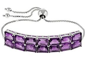 Purple Amethyst Sterling Silver Bolo Bracelet 17.92ctw