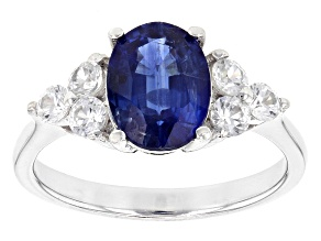 Blue Kyanite Rhodium Over Sterling Silver Ring 2.62ctw